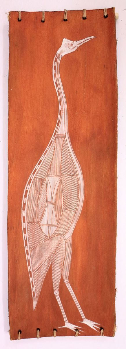Gabriel Maraingurra, Manimunak (Magpie Goose), 2014, ochre on stringy bark