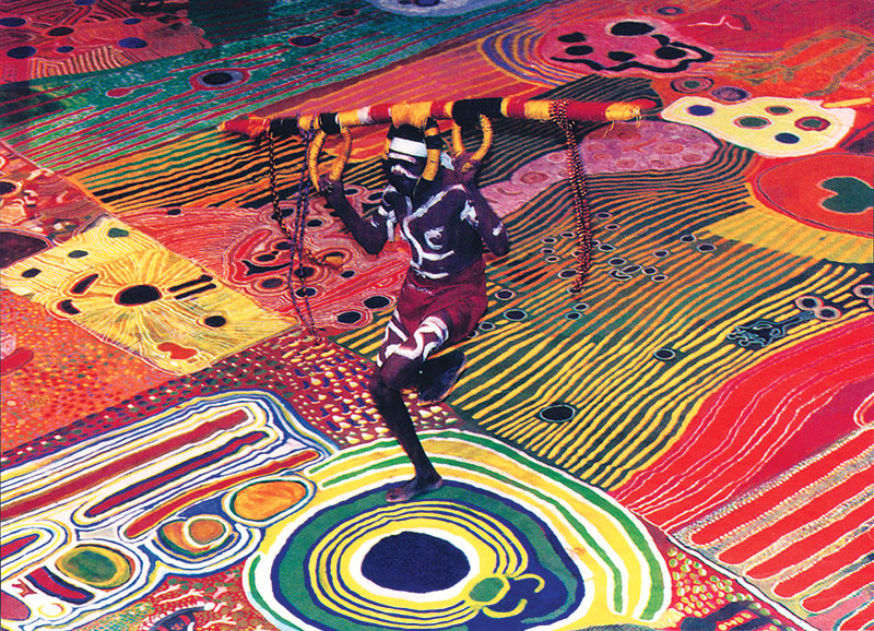 Nyilpirr Spider Snell dancing Kurtal (snake dreaming) on the Ngurrura Canvas in Canberra in 1977 to remind those sitting on the High Court of the depth of his people's claim.