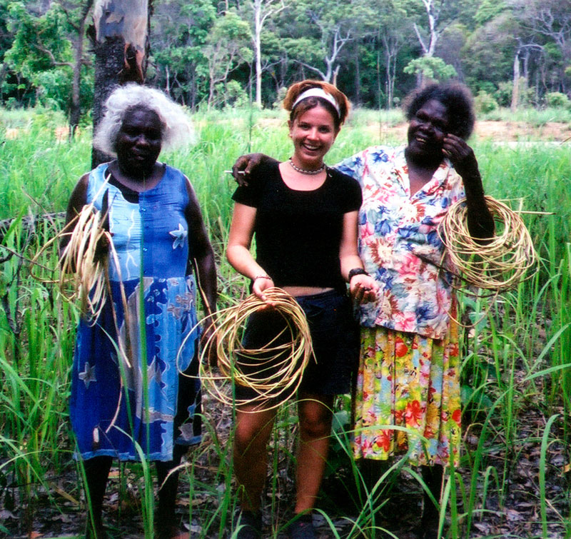 Queenie Giblet, Chantelle and Dorothy Short collecting lawyer cane. Courtesy Lockhart River Arts Centre