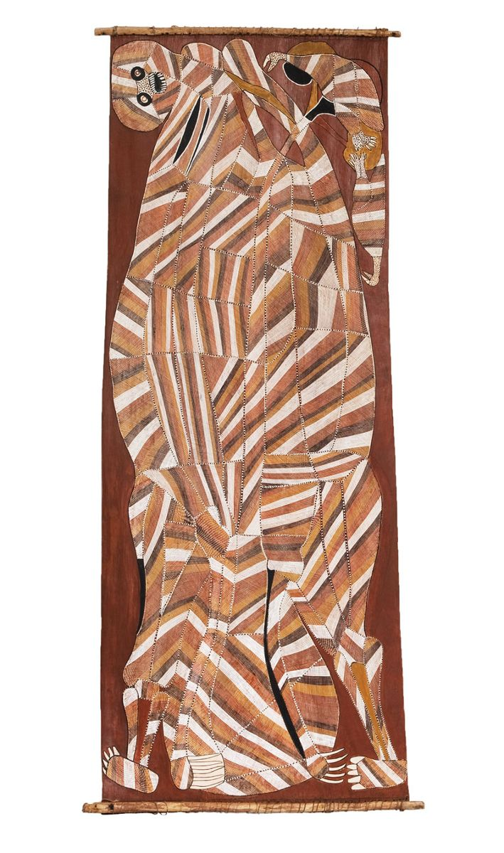 John Mawurndjul, Nawarramulmul (Shooting star spirit),1988, earth pigments on Stringybark (Eucalyptus tetrodonta). Museum of Contemporary Art, purchased with funds donated by Mr and Mrs Jim Bain, 1989. © John Mawurndjul/Licensed by Copyright Agency, 2018. Photo: Jessica Maurer