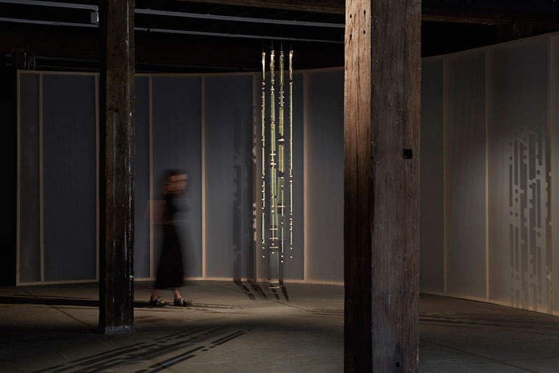 Angelica Mesiti, Appel à Tous/Calling All, 2017, brass, steel, installation view, Artspace, Sydney. Courtesy the artist; Anna Schwartz Gallery, Melbourne; and Galerie Allen, Paris. Photo: Zan Wimberley
