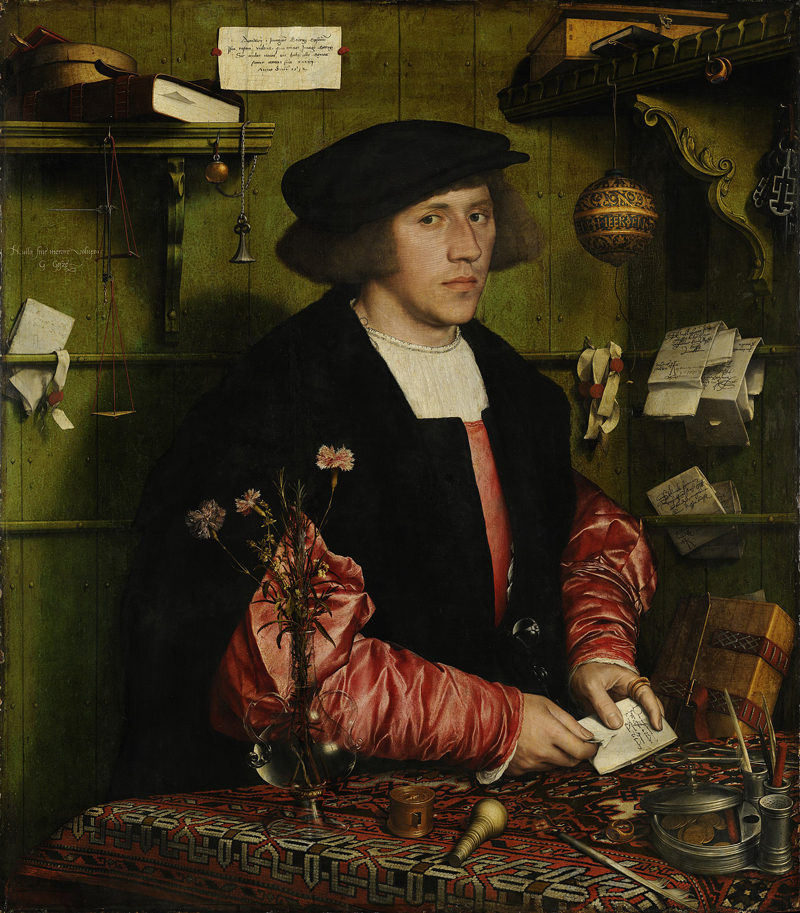 Hans Holbein, The Merchant Georg Giesz, 1532, oil and tempera on oak. Collection: Berlin State Museum