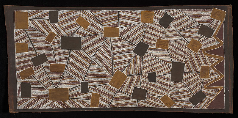 Mawalan Marika, Sydney from the Air, 1963, natural pigments on bark, National Museum of Australia, Canberra. Photo: VG Bild-Kunst, Bonn 2016