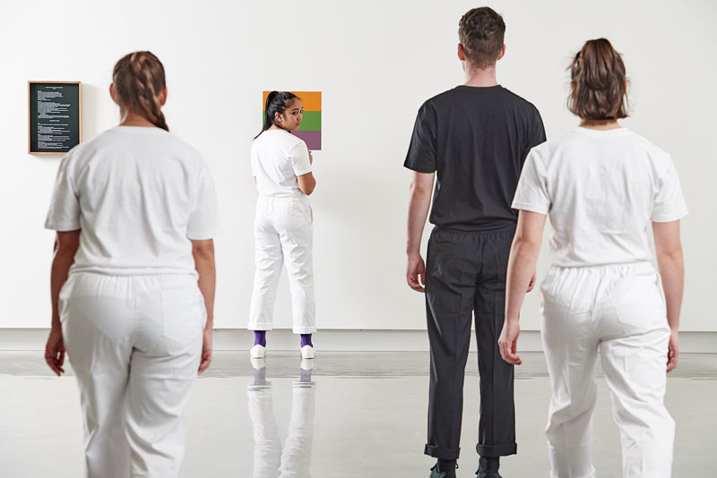 Shane Haseman, Triadic Dance of the Secondaries, 2019 performance at Buxton Contemporary, University of Melbourne, as part of Bauhaus Now! Dancers: Susannah Keebler, Angela Valdez, Caroline Louise Ellis, Paul Simon Jackson Flautist: Aawa White. Courtesy the artist. Photo: Eugene Hyland