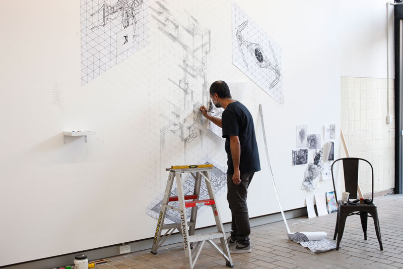 , Roy Ananda, in Rayner Hoff Project Space, National Art School for The Drawing Exchange. Photo: Steven Cavanagh