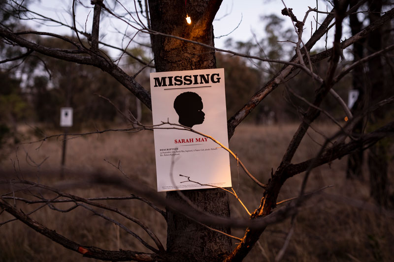 Julie Gough, Missing or Dead, 2019. Photo: Rémi Chauvin. Courtesy the artist and Tasmanian Museum and Art Gallery