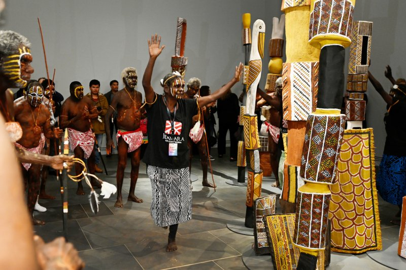 Tiwi artists performing at the media launch of Tarnanthi 2019, Art Gallery of South Australia, Adelaide. Photo: Ben Searcy