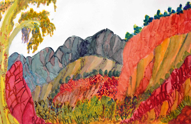 Ivy Pareroutlja, watercolour after Namatjira