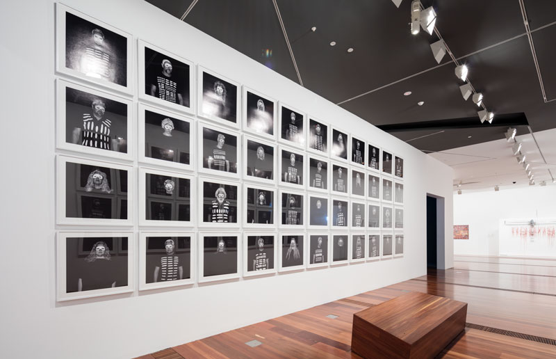 Maree Clarke, Ritual and Ceremony, 2012, 84 inkjet prints. Installation view, Colony: Frontier Wars, National Gallery of Victoria, 2018. Collection: National Gallery of Victoria