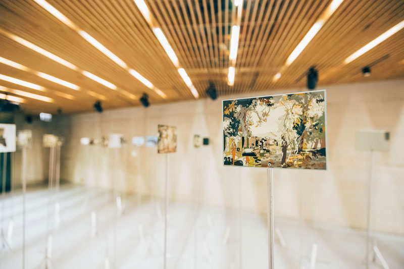 Conversations with the Bride, 1974–75 112 gouache and acrylic-epoxy paintings on aluminium panels with chrome-plated mirrored blocks, mounted on aluminium stands. Collection: Art Gallery of New South Wales. Installation view, Latvian National Museum of Art. Photo: Andris Zieds