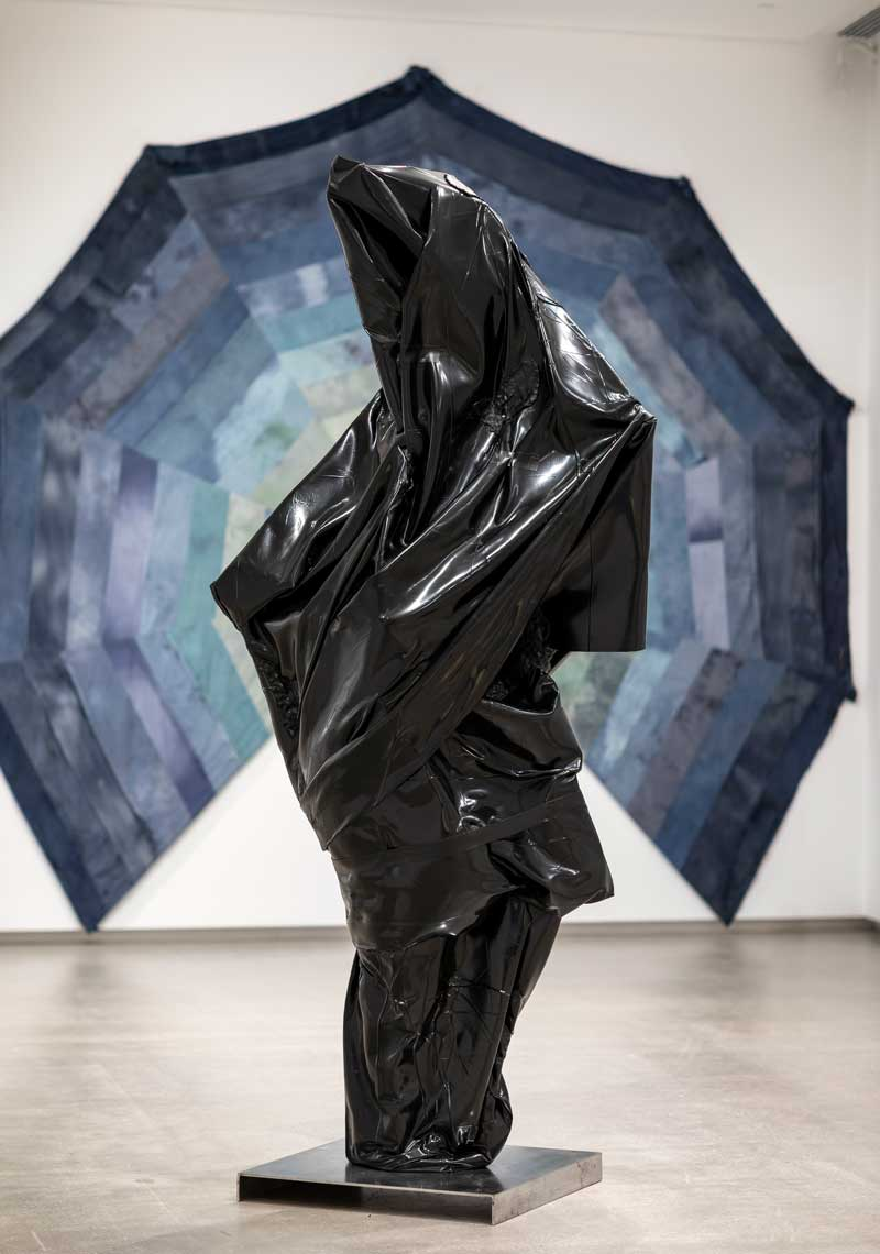 TarraWarra Biennial 2018: From Will to Form installation view of Rob McLeish, Xenograft Couture (Rigged Composition in Black, 001) 2018 TarraWarra Museum of Art, 2018. Courtesy of the artist and Neon Parc, Melbourne. Photo: Andrew Curtis