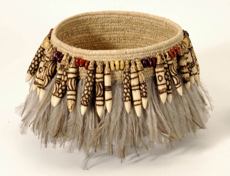 Nyurpaya Kaika, Basket, 2003, raffia, emu feathers, seeds, pokerwork wood