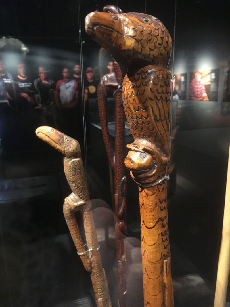 Ted Coulthard, Walking Stick, before 1895. Installation view, Yurtu Ardla, South Australian Museum. Courtesy John Carty