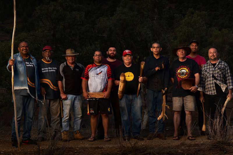 Donny McKenzie, Roy Coulthard, Lawrie Thomas, Troy Dargan, Patrick Trott, Darryl Thomas, Dallas Brady, Lindsay Thomas, Clayton Cruse and Jared Thomas at Ikara, Flinders Ranges. Photo: Dave Laslett, courtesy of Ku Arts