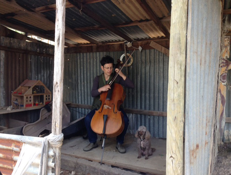 "Mattie Sempert, Gali and Wuuru warming up for a performance of ""Becoming Nar"" in a roo shed in Cottles Bridge. Photo courtesy the artist."