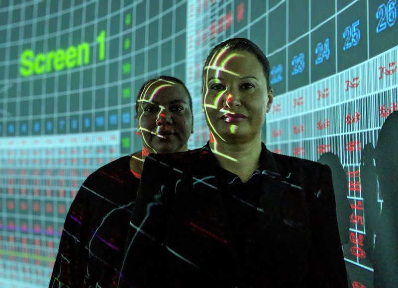 Larissa Behrendt and Pauline Clague in the Data Arena, UTS, Sydney. Photo: Ben Simons