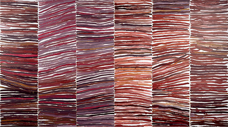 Emily Kame Kngwarreye, Untitled (Awelye), 1994, synthetic polymer paint on canvas, six panels. Private Collection. © Emily Kame Kngwarreye/Licensed by Viscopy, 2017